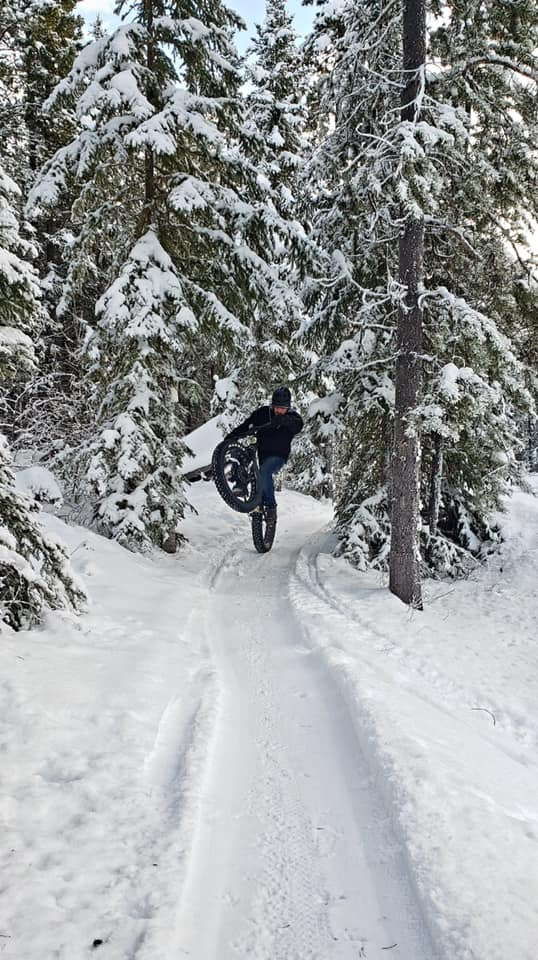 Wheelie on fatbike trail